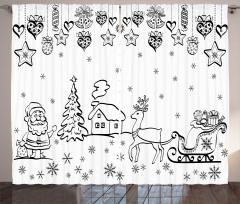 Noel Baba ve Geyikleri Fon Perde Kış