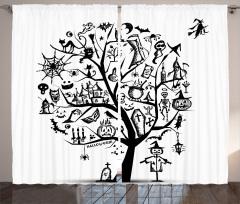 Cadılar Bayramı Ağacı Fon Perde Siyah Beyaz