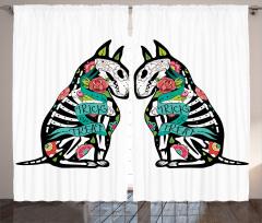 Çiçekli Köpek Desenli Fon Perde Yeşil Siyah Kemik