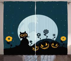 Kedi ve Ay Desenli Fon Perde Cadılar Bayramı Siyah