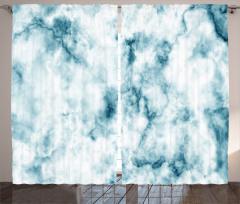 Mermer Desenli Fon Perde Mavi Beyaz Şık Tasarım