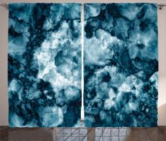 Mavi Mermer Desenli Fon Perde Ebruli Şık Tasarım