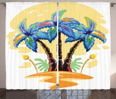 Palmiye Desenli Fon Perde Palmiye Turuncu