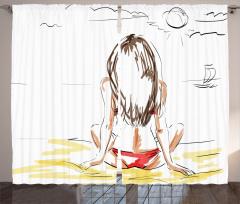 Güneşlenen Kız Fon Perde Deniz Kumsal Güneş