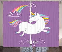 Unicorn Desenli Fon Perde Gökkuşağı Temalı Mor