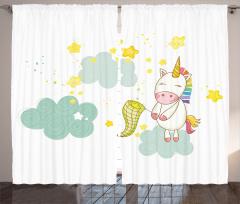 Baby Shower Temalı Fon Perde Minik Unicorn Beyaz