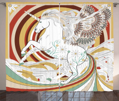 Çiçekli Unicorn Desenli Fon Perde Fantastik Şık