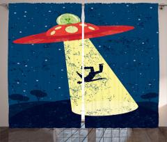 Uzay Temalı Fon Perde Lacivert Sarı Uzay Gemisi