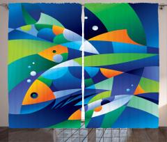 Geometrik Balıklar Fon Perde Modern Sanat