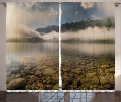 Sisli Göl ve Dağlar Fon Perde Dağlar Bulutlar