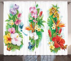 Tropikal Renkli Çiçek Fon Perde Tropikal Çiçekler Turuncu