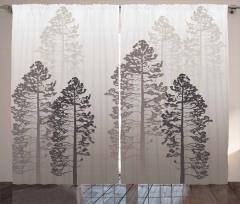 Sisli Ağaçlar Fon Perde Gri Şık Tasarım