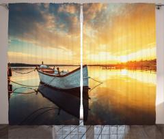 Gün Batımı ve Tekne Fon Perde Tekne Turuncu