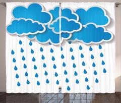Yağmur Bulutu Desenli Fon Perde Mavi Beyaz Yağmur Bulutu