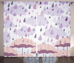 Yağmur ve Şemsiye Fon Perde Yağmur Damlacıklı Şık Tasarım Pembe