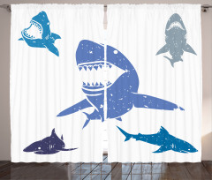 Köpek Balığı Desenli Fon Perde Mavi Gri
