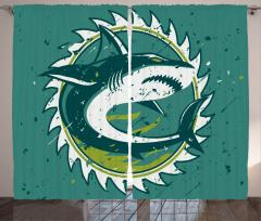 Köpek Balığı Fon Perde Köpek Balığı Şık Tasarım Beyaz