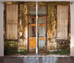 Terk Edilmiş Bina Fon Perde Kahverengi