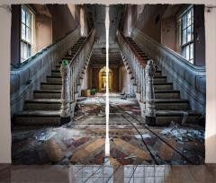 Hasarlı Bina Temalı Fon Perde Kahverengi Merdiven