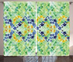 Minik Vintage Çiçekler Fon Perde Rengarenk Çiçek Desenli Bahar