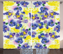 Mor ve Sarı Çiçekler Fon Perde Mor Sarı Çiçekler