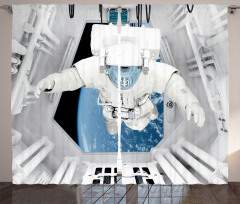 Uzay Temalı Fon Perde Astronot Desenli Gri Mavi