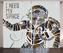 Astronot ve Çiçek Fon Perde Kahverengi