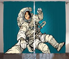 Kadın Astronot Desenli Fon Perde Mavi Şık Tasarım