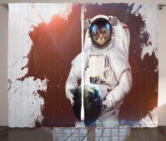 Astronot Kedi Temalı Fon Perde Gri Beyaz Uzay