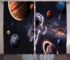 Gezegenler Temalı Fon Perde Lacivert Uzay Astronot