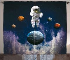 Astronot Temalı Fon Perde Lacivert Mor Uzay Dünya