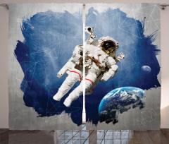 Astronot Temalı Fon Perde Lacivert Gri Uzay Dünya