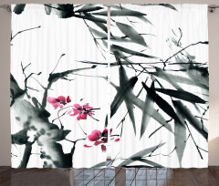 Çiçek ve Bambu Desenli Fon Perde Pembe Gri Beyaz