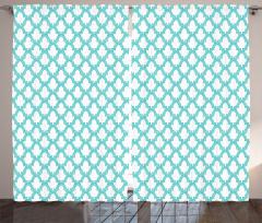 Dekoratif Kafes Desenli Fon Perde Beyaz Turkuaz