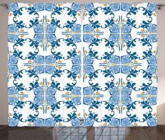 Şık Mavi Sarı Desenli Fon Perde Seramik Etkili