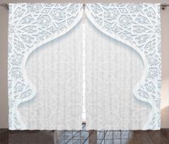 Doğu Etkili Çiçekli Fon Perde Beyaz