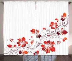 Dekoratif Çiçek Desenli Fon Perde Kırmızı Turuncu