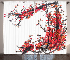 Pembe Turuncu Çiçek Fon Perde Çeyizlik