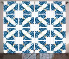 Mavi Yaprak ve Kare Fon Perde Şık Tasarım