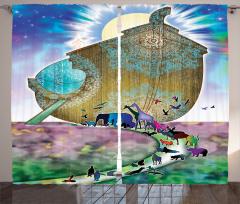 Nuh'un Gemisi Desenli Fon Perde Mandala Şık