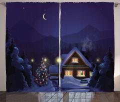 Karlı Gece ve Ahşap Ev Fon Perde Kış