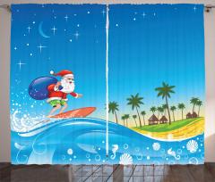 Sörf Yapan Noel Baba Fon Perde Turkuaz