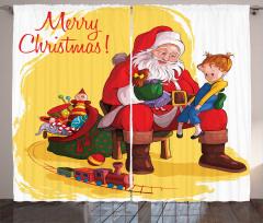 Noel Baba ve Kız Fon Perde Yılbaşı Temalı