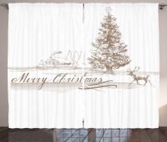 Ahşap Ev Ağaç ve Geyik Fon Perde Yılbaşı
