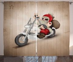 Motorcu Noel Baba Fon Perde Bej Arka Plan