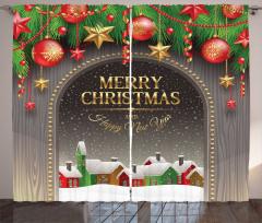 Noel Temalı Fon Perde Kar Kulübe Yılbaşı Süsü