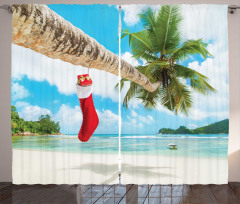 Egzotik Adada Noel Fon Perde Palmiye Deniz