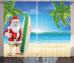 Sörfçü Noel Baba Temalı Fon Perde Mavi Yeşil Deniz