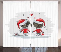 Yılbaşı Aşıkları Temalı Fon Perde Kırmızı Beyaz