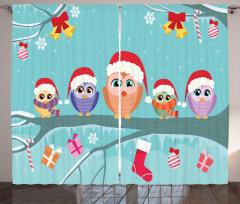 Baykuş Desenli Fon Perde Yılbaşı Temalı Mavi Noel